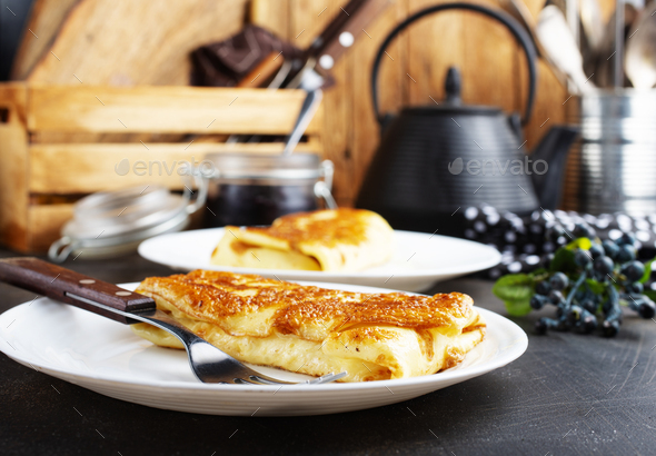 pancakes with cottage - Stock Photo - Images