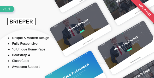 Brieper - Responsive Landing Page Template by ShreeThemes