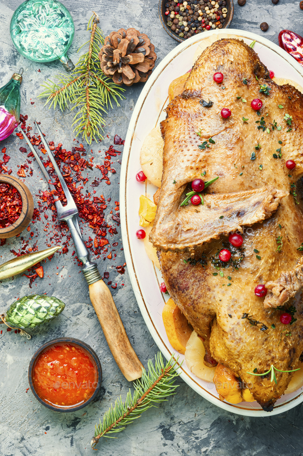 Roasted Christmas goose. - Stock Photo - Images