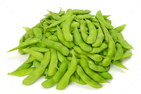 Pile of edamame, green soybeans in the pod - Stock Photo - Images