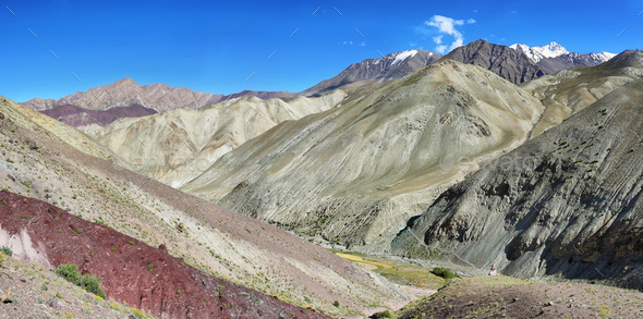 View of colorful mountains from Yurutse, Ladakh, India - Stock Photo - Images