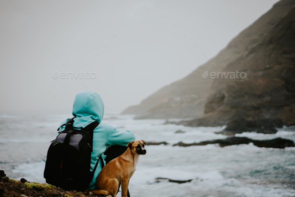 Man with a dog in front of rural coastline landscape with mountains in a fog and ocean waves hitting - Stock Photo - Images