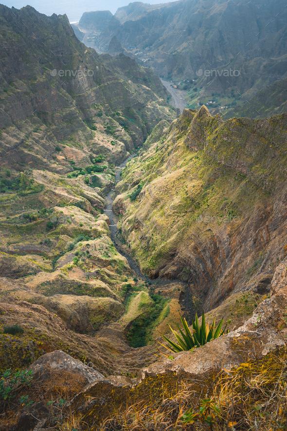 Breathtaking view from Delgadinho mountain ridge. Santo Antao, Cape Verde - Stock Photo - Images