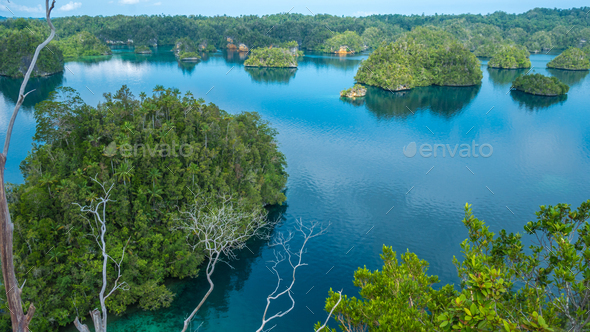 Many Islands covered by Palm trees in Passage between Gam and Waigeo, View Point near Warikaf - Stock Photo - Images