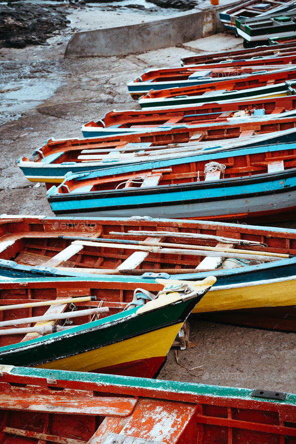 Traditional fishing boats in the fishing harbor. Ponta do Sol Santo Antao Cape Verde - Stock Photo - Images