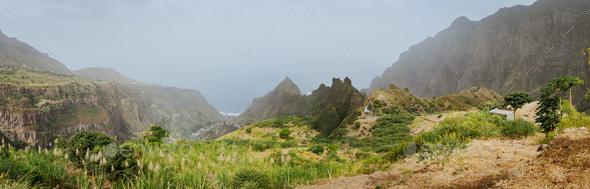 Amazing mountainscape of Ribeira de Janela on Santo Antao Cape Verde - Stock Photo - Images