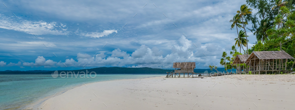 Water Hut of Homestay on Kri Island. Raja Ampat, Indonesia, West Papua - Stock Photo - Images