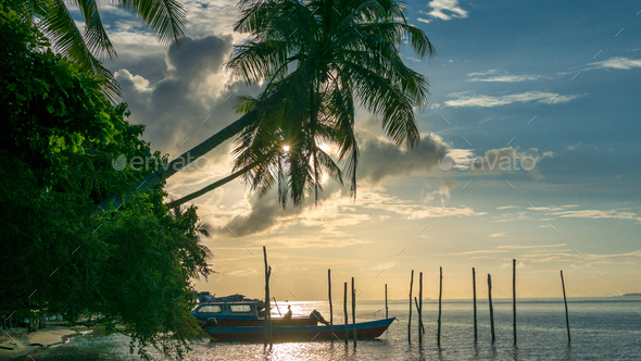 Evening on Kri Island. Boats under Palmtrees. Raja Ampat, Indonesia, West Papua - Stock Photo - Images