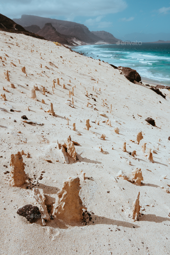Bizarre sandstone formations in the lunar landscape on the coastline of Sao Vicente Island Cape - Stock Photo - Images