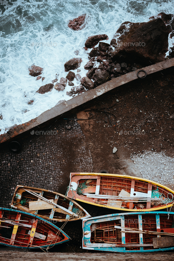 Traditional fishing boats in the harbor. View from above, view top-down. Ponta do Sol Santo Antao - Stock Photo - Images