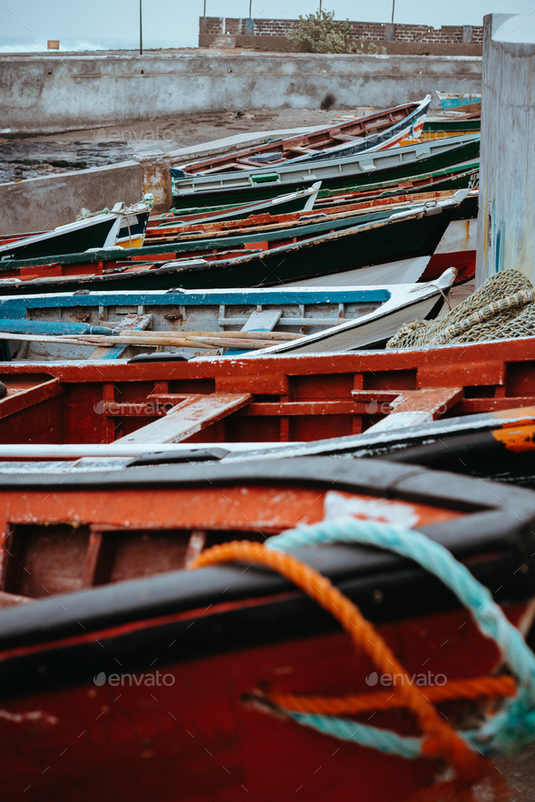 Colored local fishing boats along the old fishing shore. Ponta do Sol Santo Antao Cape Verde - Stock Photo - Images