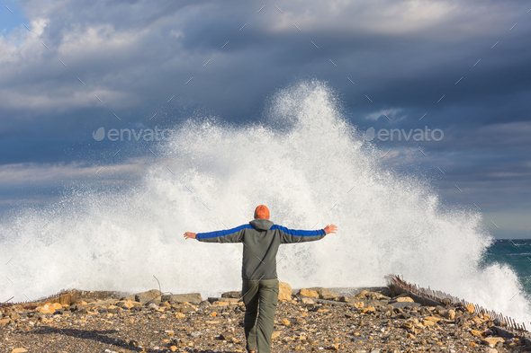 Wave in storm - Stock Photo - Images