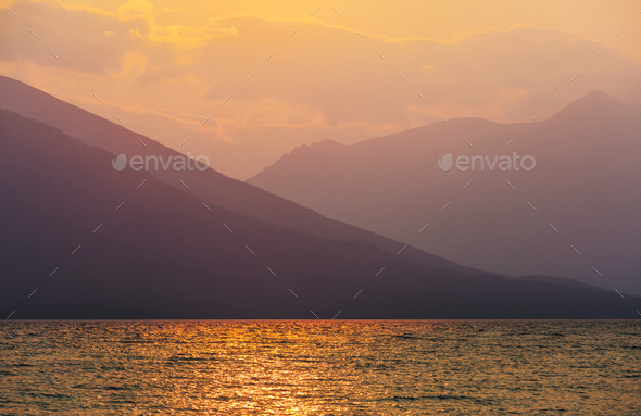 Lake on sunset - Stock Photo - Images