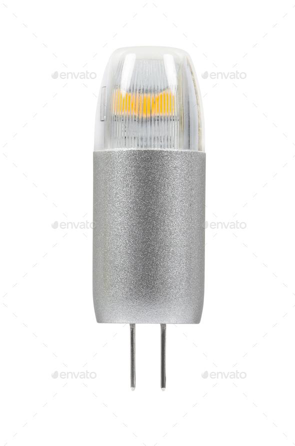 Modern G4 led bulb on white background - Stock Photo - Images