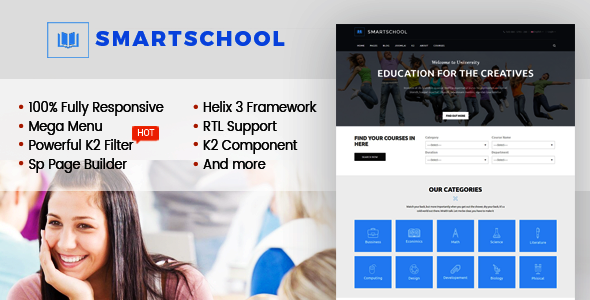 SmartSchool – Creative Responsive School, Education Joomla Template With Page Builder