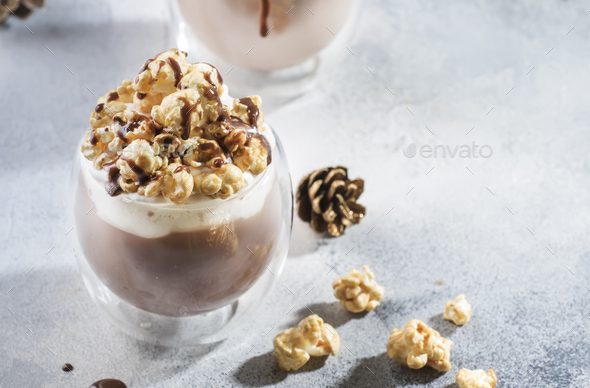 Cold chocolate dessert with whipped cream - Stock Photo - Images
