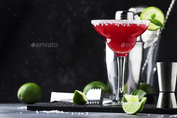 Watermelon margarita, alcoholic cocktail - Stock Photo - Images