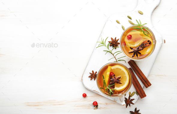 Winter healing hot tea with lemon - Stock Photo - Images