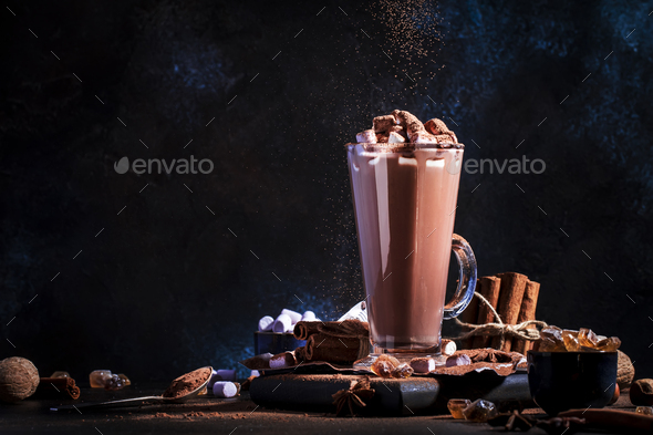 Glass of hot chocolate cocoa drink - Stock Photo - Images