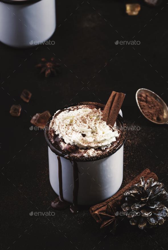 Vintage mug of hot chocolate - Stock Photo - Images