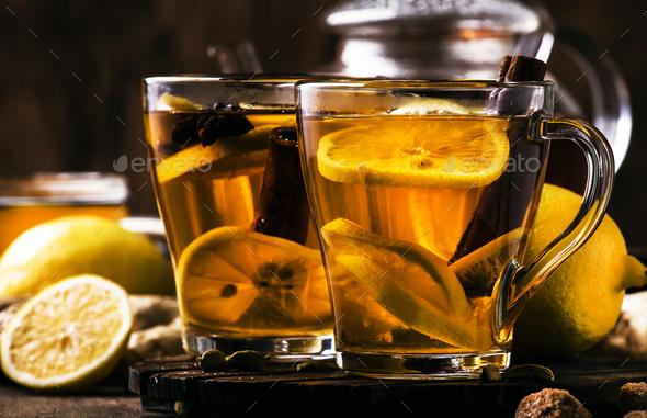 Hot healing tea with ginger, honey, lemon - Stock Photo - Images