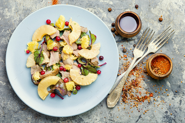 Salad with duck and pineapple - Stock Photo - Images