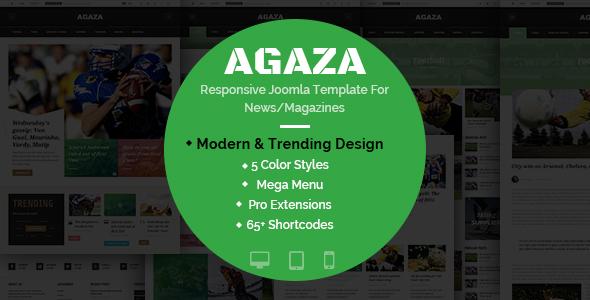 Agaza – Responsive Joomla Template For News/Magazines