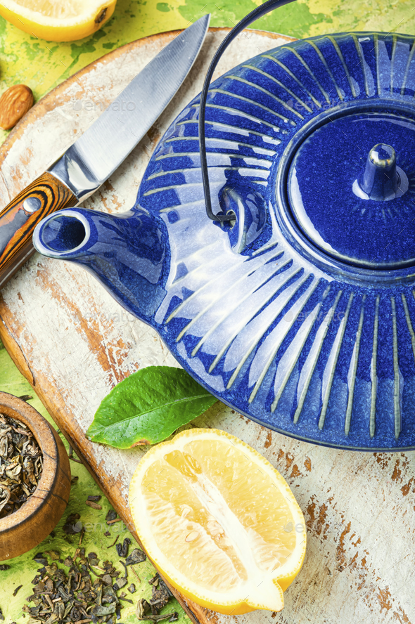 Kettle and tea ingredients - Stock Photo - Images