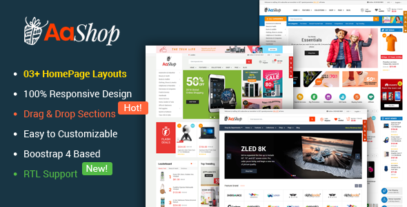 AaShop – Responsive & Multipurpose Sectioned Bootstrap 4 Shopify Theme