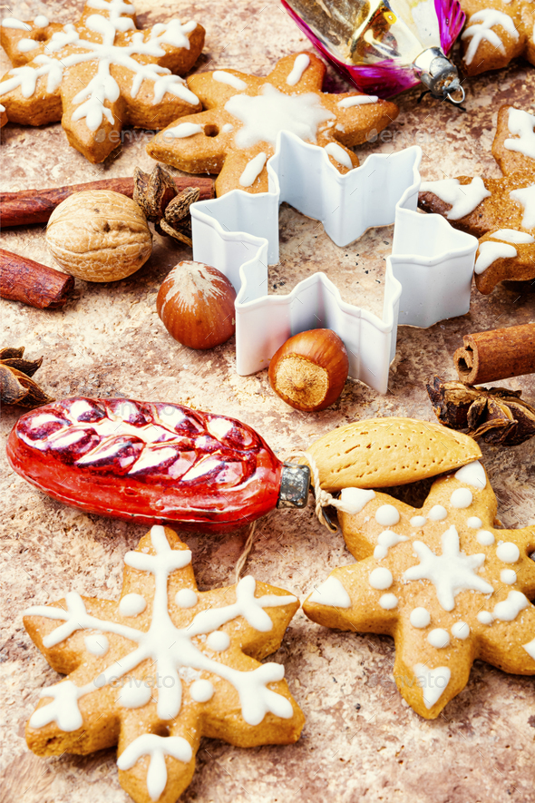 Tasty symbol Christmas cookies - Stock Photo - Images