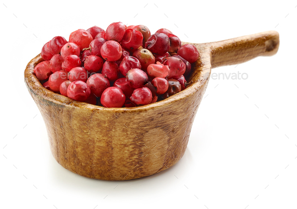 red pepper in wooden cup - Stock Photo - Images