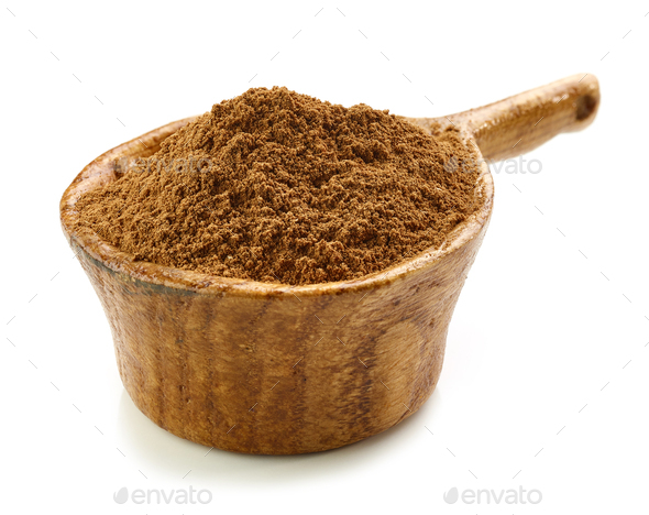 cinnamon in wooden cup - Stock Photo - Images