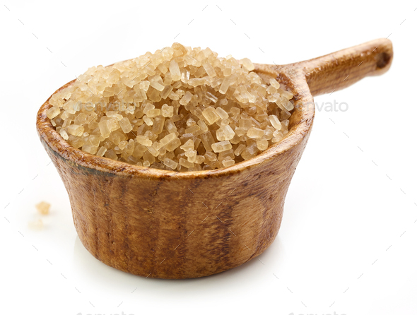 brown sugar in wooden cup - Stock Photo - Images
