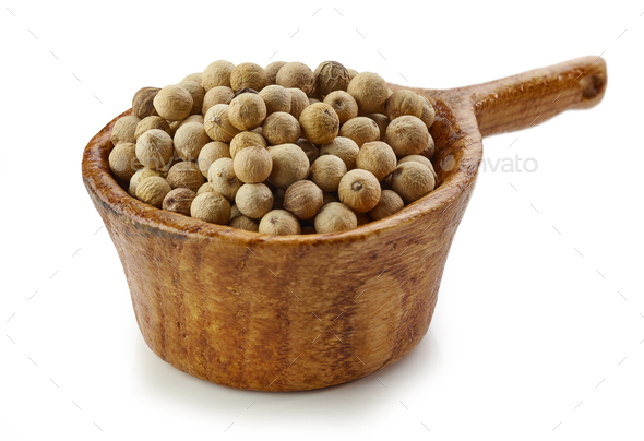 white pepper in wooden cup - Stock Photo - Images