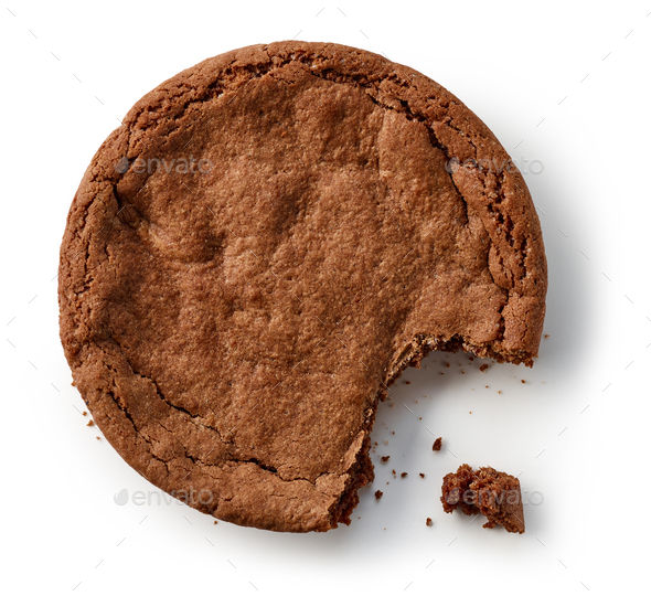 chocolate cookie on white background - Stock Photo - Images