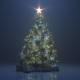 Christmas Tree with a Shining Star and a Garland in the Dark with Falling Snow - VideoHive Item for Sale