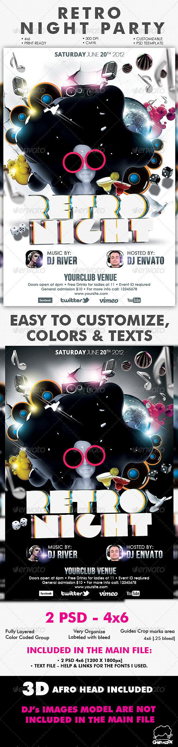 retro night party flyer template by hermz