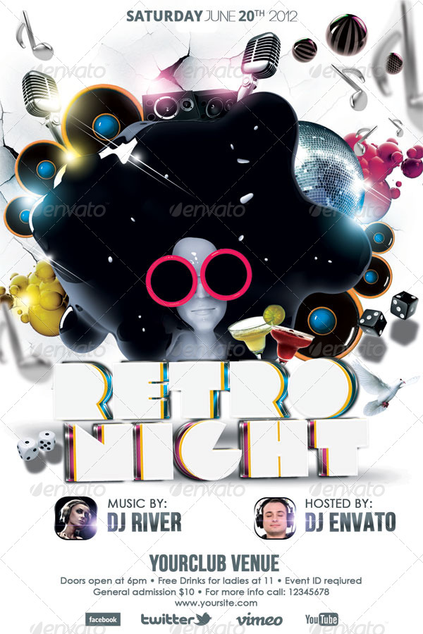 Retro Night Party Flyer Template By Hermz  Graphicriver