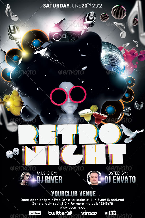 Retro Night Party Flyer Template By Hermz | Graphicriver