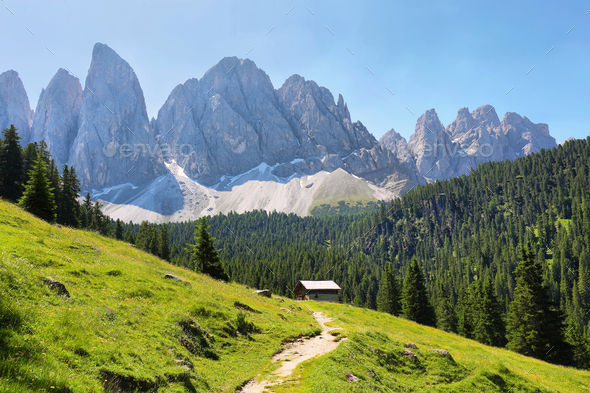 Mountain views from Adolf Munkel trail, Dolomite Alps, Italy - Stock Photo - Images