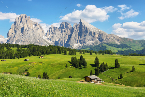 Sassolungo and Sassopiatto mountains from Alpe di Siusi or Seiser Alm, Dolomites Alps , Italy - Stock Photo - Images