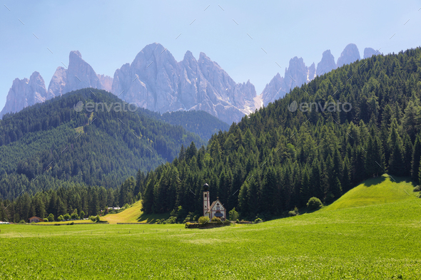 Mountain views St Giovanni Ranui, Val di Funes, Dolomite Alps, Italy - Stock Photo - Images