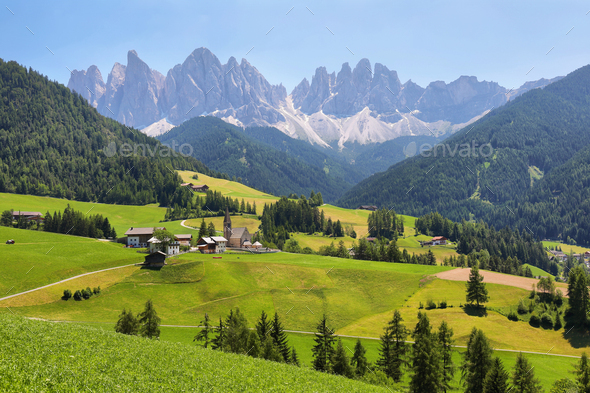 Mountain views near Santa Magdalena, Val di Funes, Dolomite Alps, Italy - Stock Photo - Images