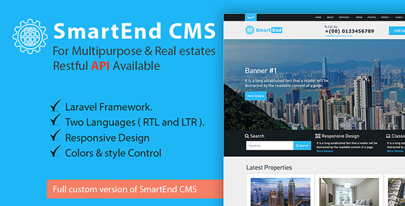 SmartEnd CMS for multipurpose & real estate with Restful API