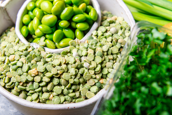 Variety of Green Vegetables and Fruits - Stock Photo - Images