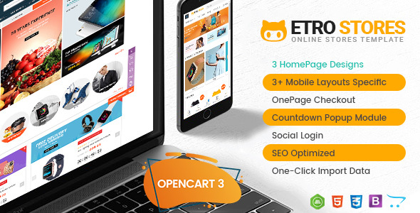 EtroStore – Drag & Drop Multipurpose OpenCart 3 & 2.3 Theme with Mobile-Specific Layouts