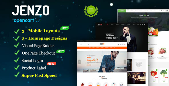 Jenzo – Drag & Drop Multipurpose OpenCart Theme with Mobile-Specific Layouts