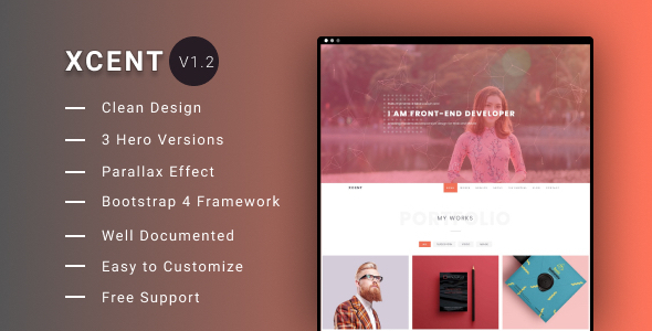 XCENT - Personal Portfolio Template by beingeorge