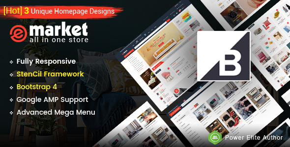 eMarket – Multipurpose StenCil BigCommerce Theme with Google AMP Ready