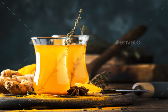 Healthy vegan turmeric golden tea - Stock Photo - Images